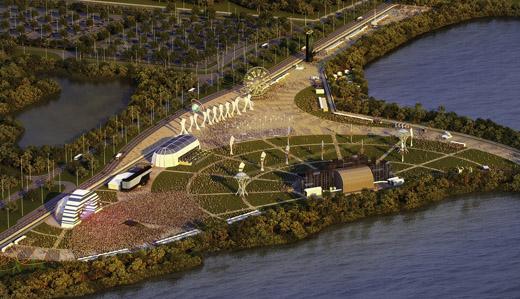 Vista geral de como irá ficar o 'Parque Olímpico Cidade do Rock', próxima à antiga Cidade do Rock