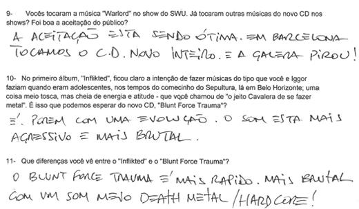 True metal: trecho das respostas de Max Cavalera escritas de próprio punho