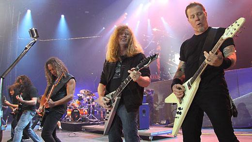 Jam da Big Four: Joe Belladonna, Rob Caggiano, Kier Hammett, Dave Mustaine e James Hetfield