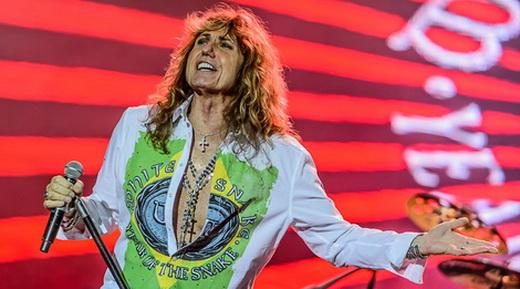 A camisa que Coverdale uma nessa turnê tem a bandeira do Brasil com um logo do Whitesnake no meio
