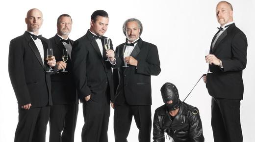 Faith No More 2015: Jon Hudson, Billy Gould, Mike Patton, Mike Bordin, um amiguinho e Roddy Bottum