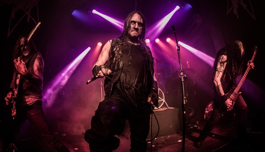 O pelotão de frente do Marduk: o guitarrista Morgan 'Evil', Mortuus e o baixista Magnus 'Devo'