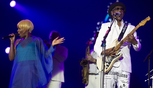 Nile cantando ao lado do bailar da ótima cantora Kimberly Davis, que se destaca em várias músicas